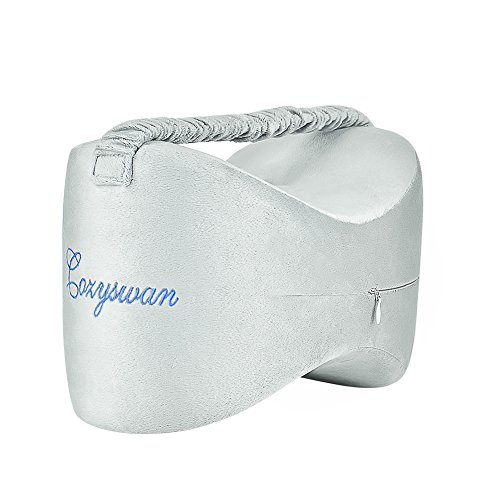Elastic Foam Strap - COZYSWAN Knee Pillow for Side Sleepers, Memory Foam Leg Pillows with Elastic Strap, Multi-use Ergonomic Design for Sciatica Pain Relief, Pregnancy, Hip and Joint Pain(Bonus Sleep Mask&Flex Earplug)