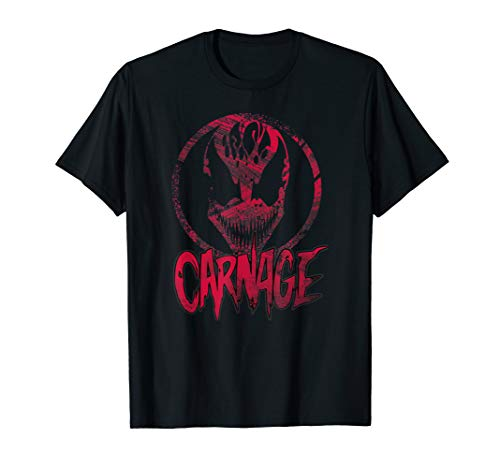 (Carnage Single Coated Red Painted Face Logo Graphic T-Shirt)