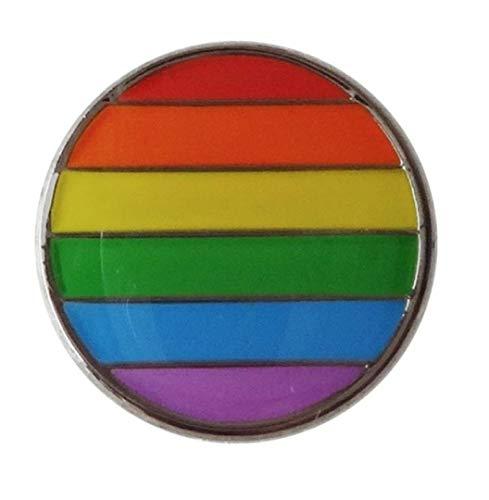 (Rainbow Circle Lapel Pin 20mm Pride LGBT Hat Tie Tack Badge Pin)