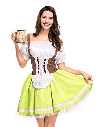 GRACIN Women's German Oktoberfest Dirndl Beer Maid Fancy Dress Halloween Costume (Small, Green) -