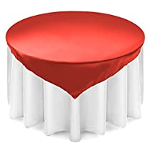 Lann's Linens 72 inch Square Satin Tablecloth Overlay - Wedding Banquet Party Decoration - Red