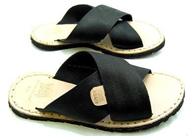 49ba1f83e7b2 Worn Again Mens Car Cross Black Cross Strap Sandals  Amazon.co.uk ...
