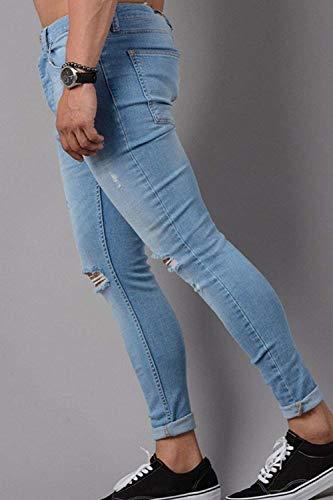 Uomo Classiche Holes Slim Blau Fit Lunghi Pantaloni Jeans In Solid Ragazzi Stretch Destroyed Nnen Denim d40dfUq