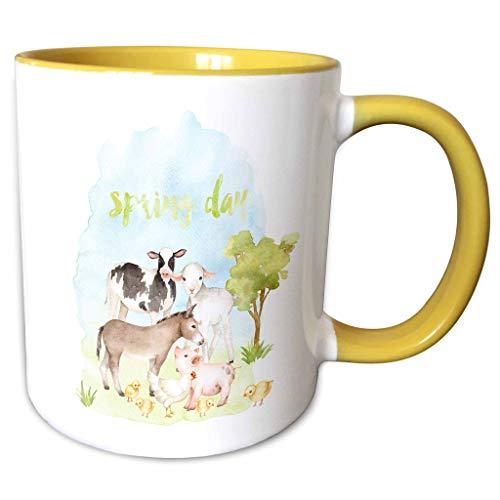 3dRose Uta Naumann Sayings and Typography - Spring Day- Animals in Farm Garden- Watercolor Illustration Typography - 11oz Two-Tone Yellow Mug (mug_291997_8) - Pastel 11 Ounce Mug