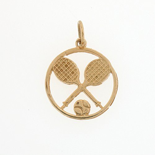 14K Yellow Gold Tennis Racket And Ball Pendant - 20 mm 14k Yellow Gold Tennis Racket