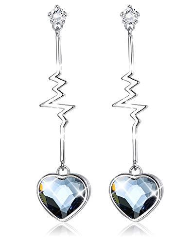 Sllaiss Blue Heart Crystal Earrings for Women Heartbeat Long Dangle Drop Earrings, Made with Swarovski Crystals Love Jewelry ()