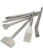 CO-Z 6 Piece SDS Plus Chisel Set Pointed Chisel (15 x 250mm) Flat Chisel (14 x 250 x 20mm) Tile Chisel (240 x 40mm) Gouge Chisel (260 X 25mm), Wide Chisel (250 X 42mm/ 250 X 77mm)