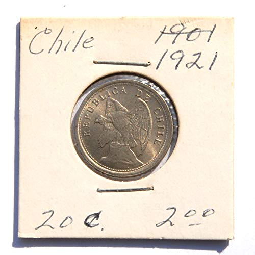 1921 CL Chile 20 Centavos Coin Very Fine Details