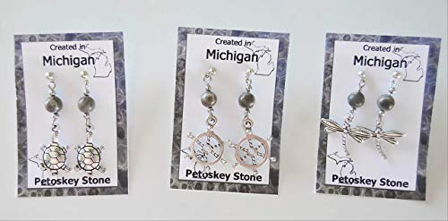 (Petoskey stone fossil earrings with 6 mm fossil bead nickel free post or hook, your choice jewelry drop Turtle, Dragonfly, Ship Wheel )