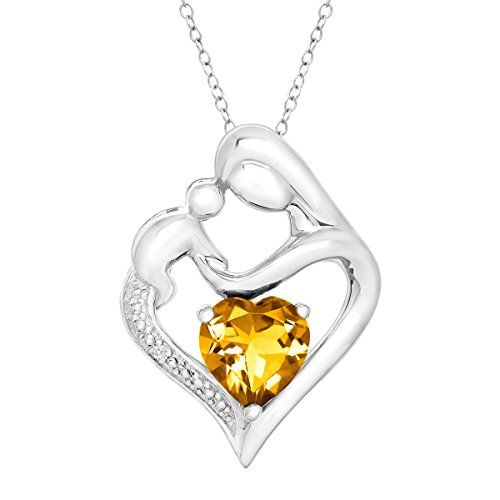Sterling Silver Natural Citrine Mother & Child Heart Pendant Necklace with Diamond, 18