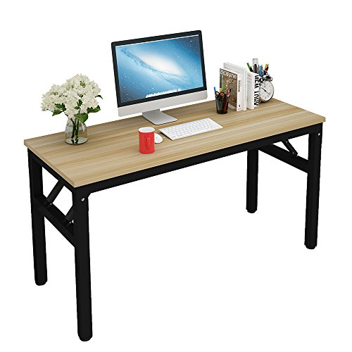 57'' Folding Table,No Assembly Required Computer Desk,Home Office Study Modern Writing (Desk Assembly)