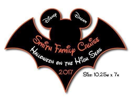 HANDMADE Disney Inspired LARGE Halloween Bat Mouse Head Family Magnet For Cruise Door -