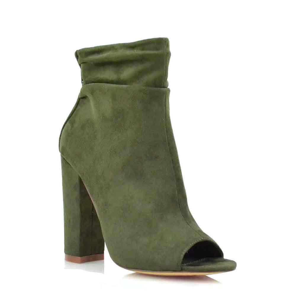 Olive Suede Olivia and Jaymes Women's Open Toe Slouch Ankle Booties Back Zipper Block Chunky Heel shoes Boots
