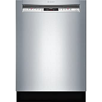 """Bosch SHE68T55UC 800 Series 24"""" Wide Built-in Dishwasher with 16 Place Setting Capacity Touch Control Technology Load Size Sensor Ultraquiet 44 dBA Delay Start Sanitize Option in Stainless"""