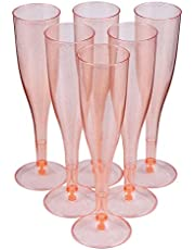 NUOBESTY 30pcs Plastic Champagne Flutes, Disposable Champagne Glasses, Plastic Wine Plasses, Gold Glitter Plastic Cups for Parties Wedding