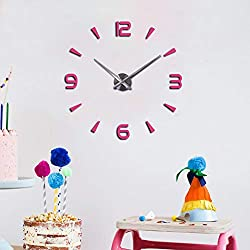 FASHION in THE CITY 3D DIY Wall Clock Creative Design Mirror Surface Wall Decorative Sticker Watches (Pink)