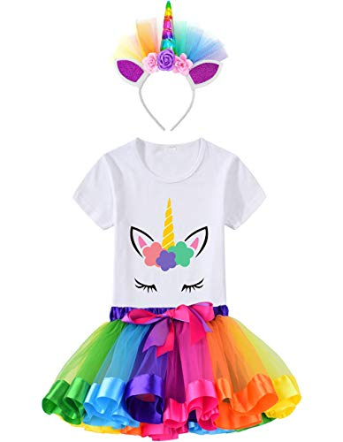 HBeatific Little Girls Layered Tulle Rainbow Tutu Skirt with Unicorn T-Shirt,Headband and Birthday Sash (Rainbow, M,3-4 T) -