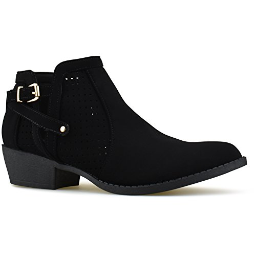Premier Standard Women's Strappy Buckle Closed Toe Bootie - Low Heel Casual Comfortable Walking Boot Black C38*