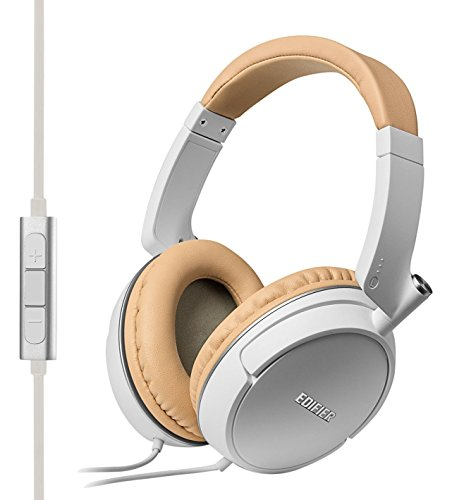 Edifier P841 Comfortable Noise Isolating Over-Ear Headphones With Microphone And Volume Controls – White