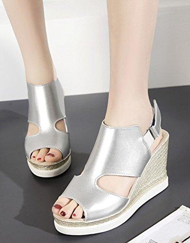 Aisun Womens Comfort Cutout Hook and Loop Dressy Peep Toe Platform High Heel Wedge Sandals Shoes Silver e4mSYJ