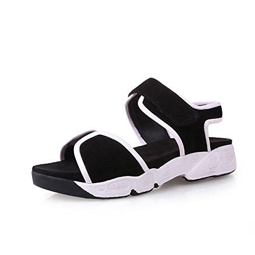 Sandalen AllhqFashion Heels Sortierte Toe Farbe Klettverschluss Open Schwarz Low Frosted Damen fnzwqTfS