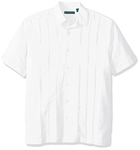 Cubavera Men's Short Sleeve Linen-Blend Shirt with Two Top Pockets and Pleats, Bright White, Extra Large ()