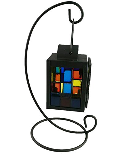 Moroccan Style Creative Retro Gifts Decor Glass Night Hanging Table Lantern Candle Holder Candlestick For home Decoration (Black Waves) (Candle Moroccan Lantern Style)