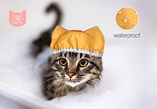Shower cap for cat, Cat hat, Waterproof cap, Hat for washing cat, Custom color.