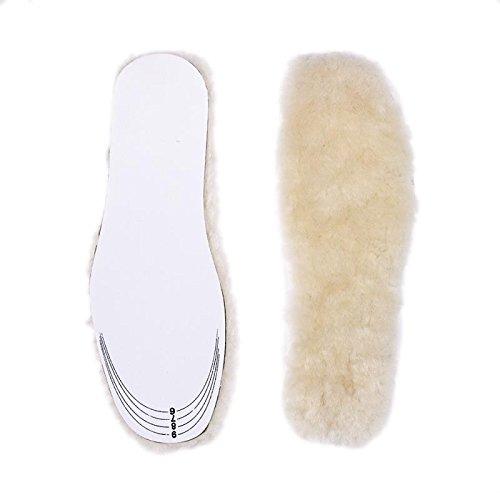 WOBAOS Adjusting Wool Insoles,Genuine Sheepskin Insoles Men's & Women's Premium Thick Wool Fur Fleece Inserts Cozy & Fluffy (Men's 6-14, Cream)