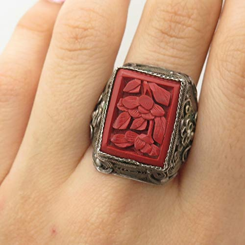 Antq China Sterling Silver Large Cinnabar Gemstone Filigree Ring 11.5 Jewelry by Wholesale Charms