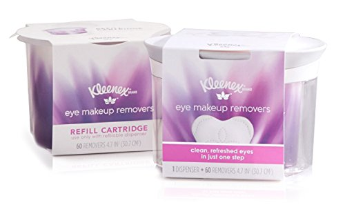 Kleenex Eye Makeup Removers, Refillable Dispenser & Refill Cartridge, 120 Total Removers