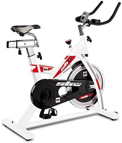BH Fitness SB1.2 H9154 - Bicicleta de ciclismo indoor con volante de inercia 16 kg, freno de fricción y pedales ergonómicos con calapié, transmisión mediante cadena, monitor LCD, color blanco y rojo: