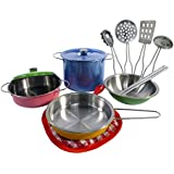 Liberty Imports Colorful Metal Pots and Pans Kitchen Cookware Playset for Kids with Cooking Utensils Set