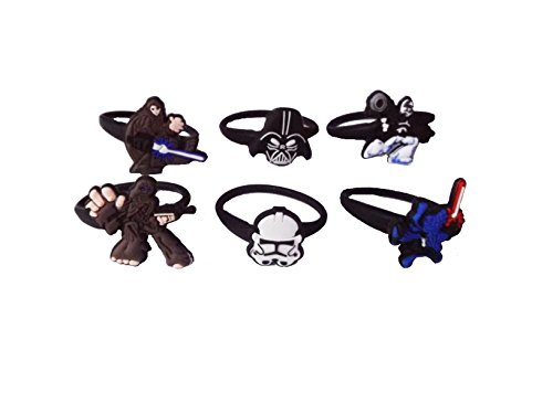 [AVIRGO 6 pcs Releasable Ponytail Holder Elastic Rubber Stretchable No-slip Hair Tie Set # 1002 - 6] (Jedi Costume Images)