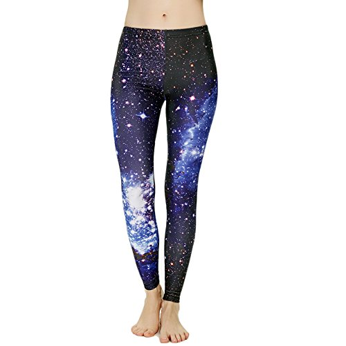 Idingding Womens Galaxy Star Printed High Waist Leggings Pants, Blue, L ()