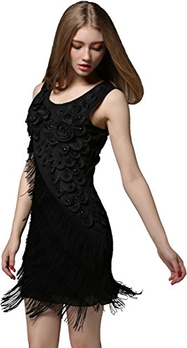 US2-20 1920 Vintage Flapper Gatsby Dress Beaded Flower Fringe Cocktail (Twenties Dress)
