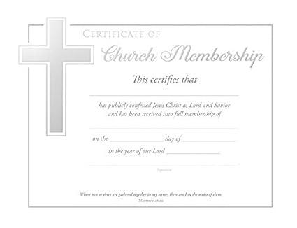 Certificate Church Membership Matthew 1820 Silv