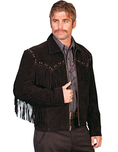 Scully Mens 221 Boar Suede Fringe Leather Outerwear Jackets, Black Suede - 3X_B