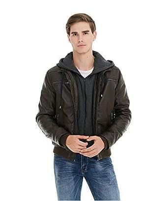 Fasbric Winter Warm Men Hoodie Detachable Faux Leather