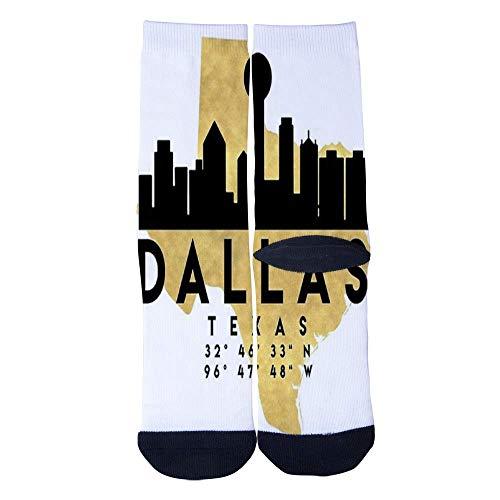 Eletina lee Men S Women S Custom Texas Dallas City Fashion Map Socks 3D Print Novel Creative Casual Crew Socks -