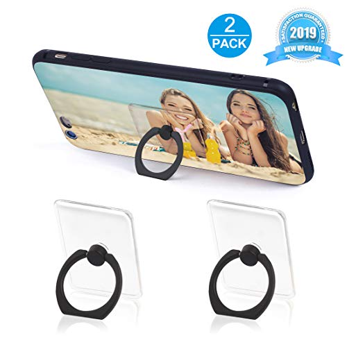 Phone Ring Holder Phone Ring Transparent Ring Holder for Cell Phone 360 Degree Rotation and 180 °Flip Phone Ring Grip Finger Ring Stand Kickstand Compatible Various Mobile Phones (Black) ()