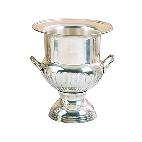 Benzara Traditional Style Silver Plated Brass Wine Bucket with 2 Handles from Benzara
