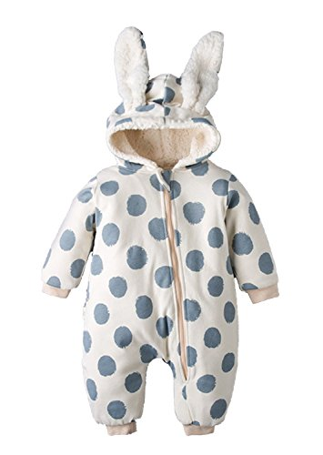 Baby Boy Girl Winter Fleece Lined Hooded Outfit Creeper Cute Rabbit Style Romper Size 3-6 Months/Tag73 (Blue) by EGELEXY