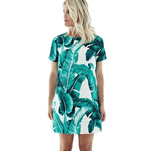 Hot Dress!Elevin(TM)2017 Women Summer Fashion Sexy Leaf Print Dress Short Sleeve Dress (L, Green)