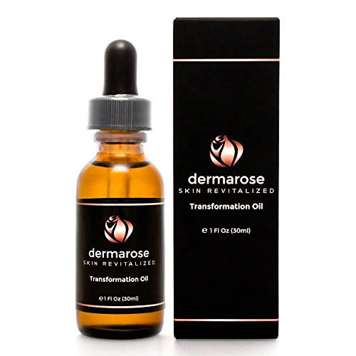 Dermarose 100% Organic Essential Oil Serum Blend for Face, Hair, Beard, Skin and Nails - Natural Moisturizer with Organic Coconut, Argan, Safflower, Grapeseed, Jojoba, Rose Hip and Avocado Oils. 1 oz