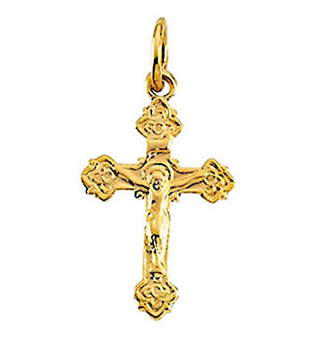 (LooptyHoops Small 14K Yellow Gold Children's Crucifix Cross Charm Pendant.55 In (14mm))