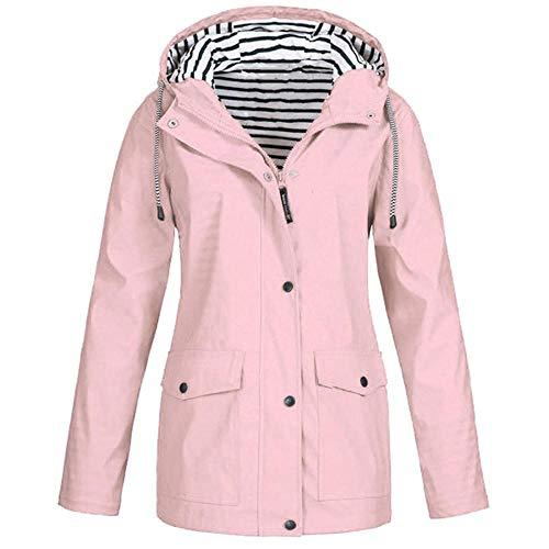 (HGWXX7 Women Solid Rain Jacket Outdoor Plus Size Coats Waterproof Hooded Raincoat Windproof(4XL,Pink))