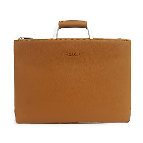 Lotuff Men's Leather Simple Briefcase Bag Business Laptop Messenger Bags Tote Large Size (Brown) by LOTUFF