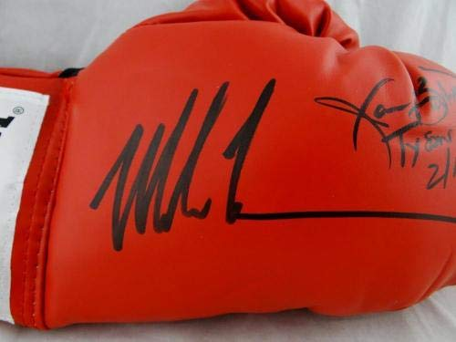 Mike Tyson Buster Douglas Signed Red Everlast Boxing Glove W Auth *Black JSA Certified Autographed Boxing Gloves