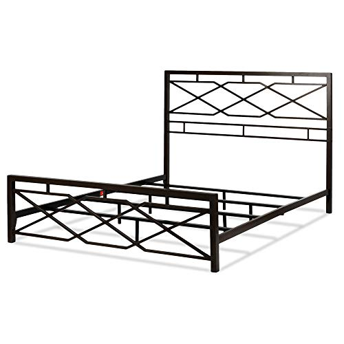 Leggett & Platt Alpine Metal SNAP Bed with Folding Frame Bedding Support System and Geometric Panel Design, Rustic Pewter Finish, California King